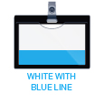 white with blue line