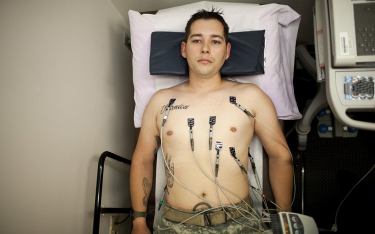 U.S. Army combat medic Shawn Aiken is shown during his EKG appointment at the VA Medical Center in El Paso, Texas on May 24, 2013. REUTERS/Ivan Pierre Aguirre