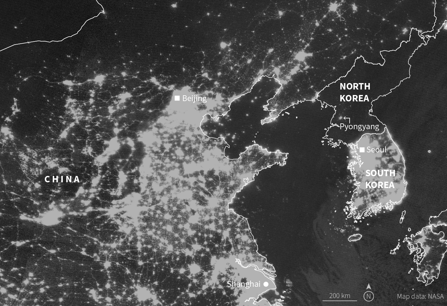 How north koreans and chinese trade across their cold frontier skyview the contrast between north and south korea at night has been marked for decades now china is glowing too photo from march 2018 gumiabroncs Image collections