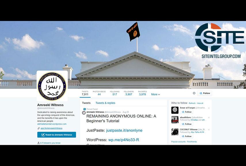 アミンのツイッターアカウントの写真にはホワイトハウスにISの旗が掲げられていた。SITE提供(2016年 ロイター)