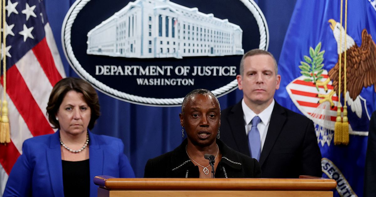 Acting U.S. Attorney for the Northern District of California Stephanie Hinds speaks about the Colonial Pipeline ransomware attack during a news conference with Deputy U.S. Attorney General Lisa Monaco and FBI Deputy Director Paul Abbate at the Justice Department in Washington, U.S., June 7, 2021. REUTERS/Jonathan Ernst/Pool/File Photo