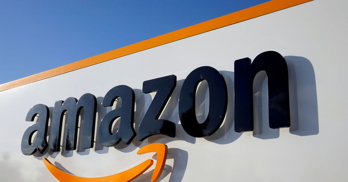 The logo of Amazon is seen at the company logistics centre in Boves, France, August 8, 2018. REUTERS/Pascal Rossignol/File Photo Amazon.com Inc (AMZN.