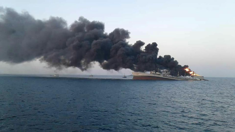 Large Iranian Navy Ship Sinks in Gulf of Oman After Catching Fire During Training Mission