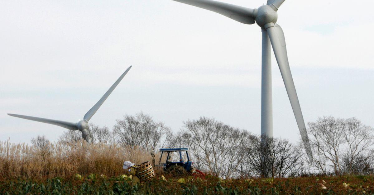 A farmer works near 100-metre-tall (328-foot-tall) wind turbine at the Electric Power Development Co., Ltd's Nunobiki Plateau Wind Farm in Koriyama, north of Tokyo November 8, 2007. REUTERS/Toru Hanai (JAPAN