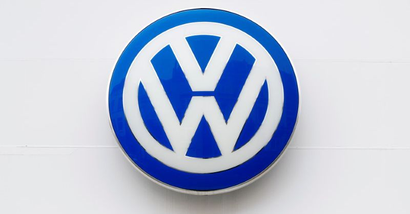 The logo of German carmaker Volkswagen is seen on the wall of a showroom of a Volkswagen car dealer in Brussels, Belgium July 9, 2020. REUTERS/Francoi