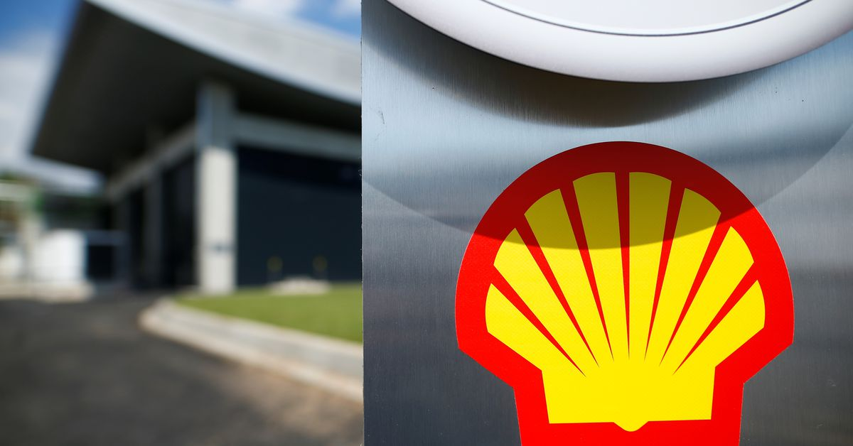 The logo of Royal Dutch Shell is pictured during a launch event for a hydrogen electrolysis plant at Shell's Rhineland refinery in Wesseling near