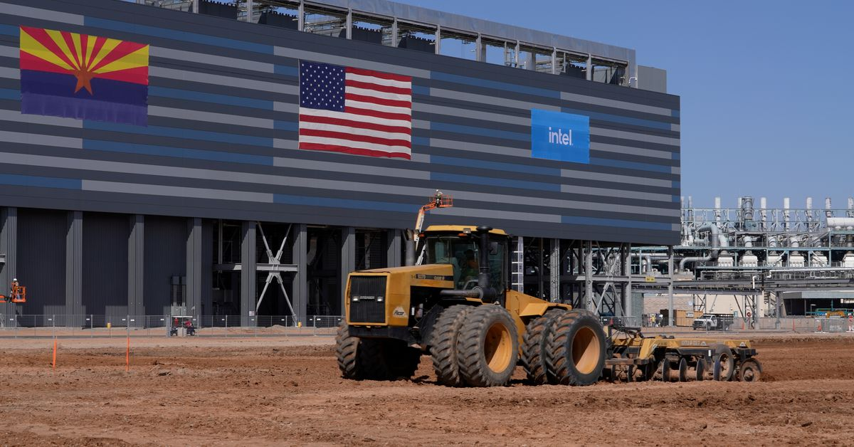 A handout photo shows construction equipment at the site of a future Intel Corp chip factory in Chandler, Arizona, U.S., September 23, 2021. Picture t