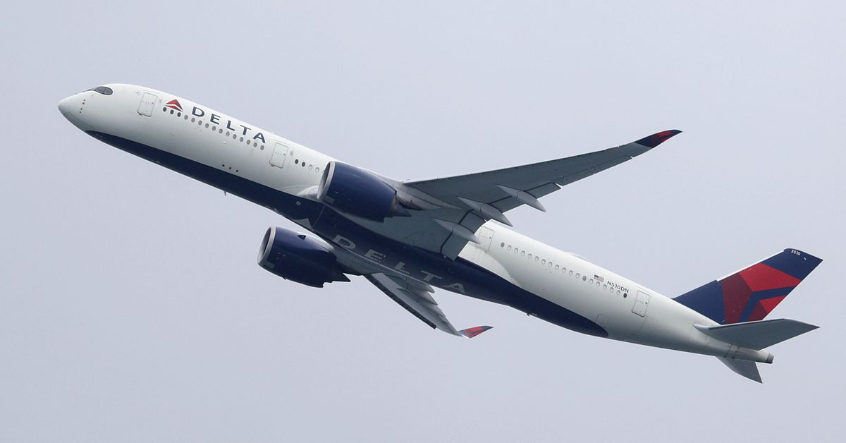 A Delta Air Lines Airbus A350-900 plane takes off from Sydney Airport in Sydney, Australia, October 28, 2020.  REUTERS/Loren Elliott/File Photo July 2