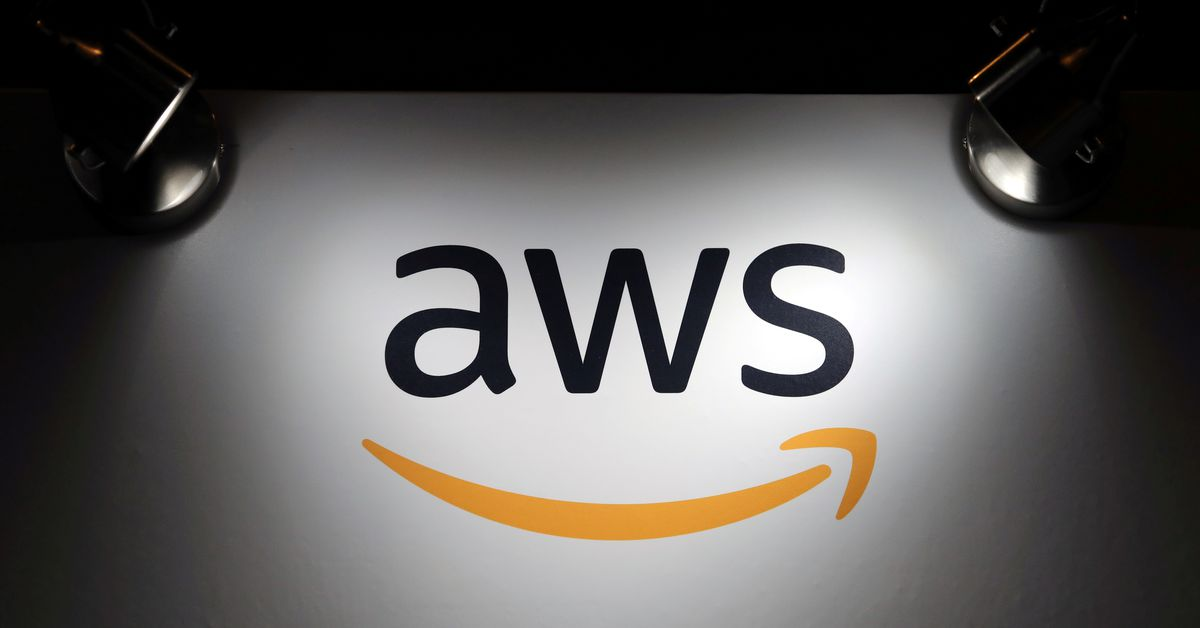 The logo of Amazon Web Services (AWS) is seen during the 4th annual America Digital Latin American Congress of Business and Technology in Santiago, Ch