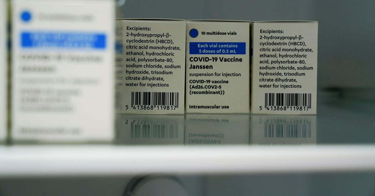 Johnson & Johnson's coronavirus disease (COVID-19) vaccines are kept refrigerated at the Forem vaccination centre in Pamplona, Spain, April 22, 2021. REUTERS/Vincent West