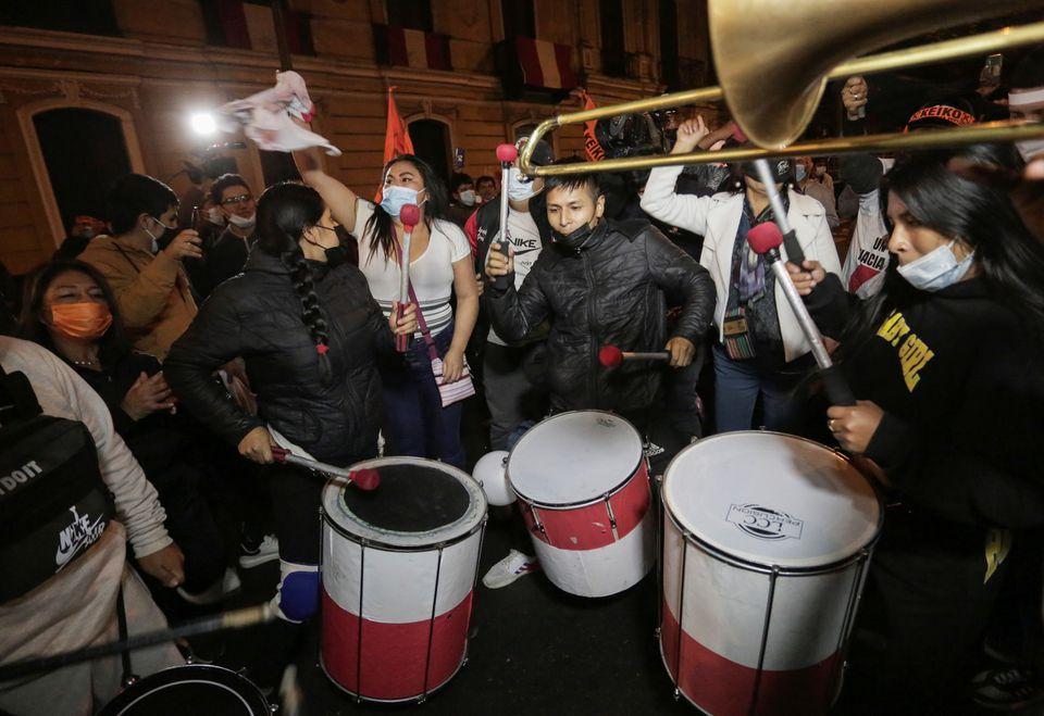 Supporters of Peru's presidential candidate Keiko Fujimori react in Lima, Peru June 6, 2021. REUTERS/Gerardo Marin