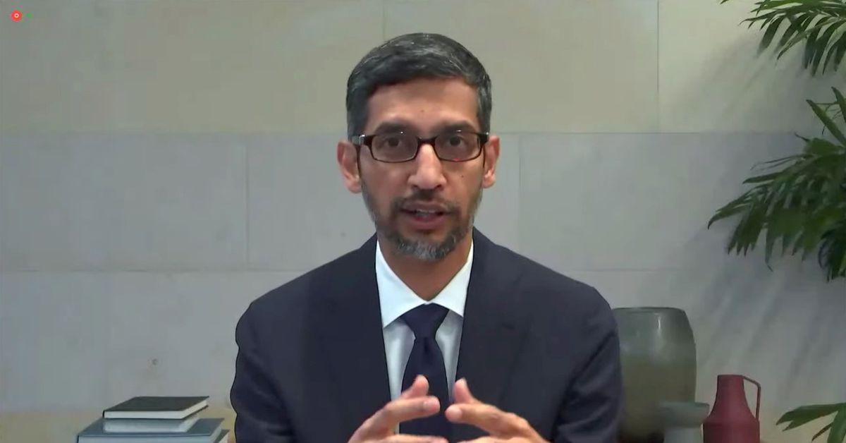 Google CEO Sundar Pichai testifies during a remote video hearing held by subcommittees of the U.S. House of Representatives Energy and Commerce Commit