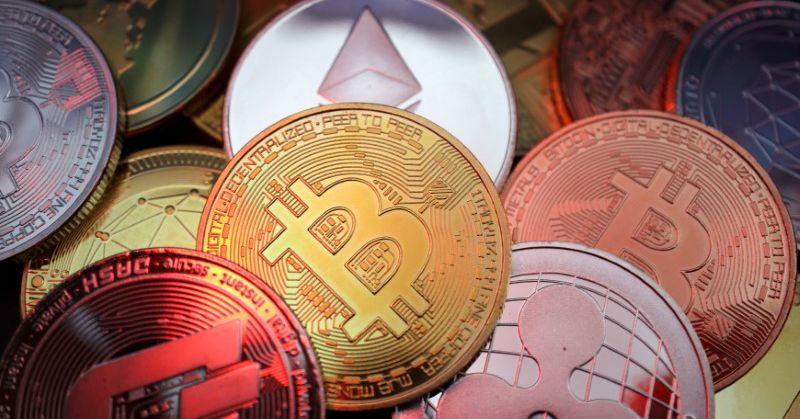 Representations of cryptocurrencies including Bitcoin, Dash, Ethereum, Ripple and Litecoin are seen in this illustration picture taken June 2, 2021. R